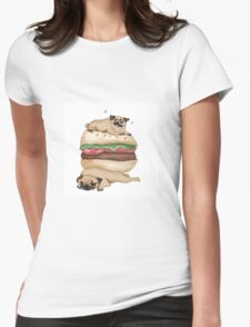 The Burger Pugs  Womens Fitted T-Shirt