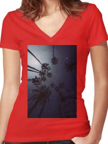 Palm Trees, Night Sky, Stars, Moon Women's Fitted V-Neck T-Shirt