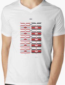 Retro Mod Ogee Red & Black Abstract Pod Pattern Mens V-Neck T-Shirt