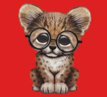Cute Cheetah Cub Wearing Glasses on Red T-Shirt