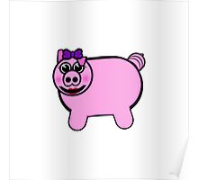 Girly Stuffed Pig Poster