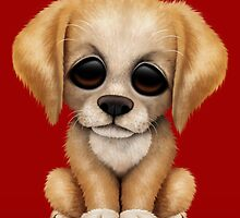 Cute Golden Retriever Puppy Dog on Red by Jeff Bartels
