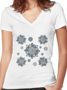 Foral pattern. Doodle art Women's Fitted V-Neck T-Shirt