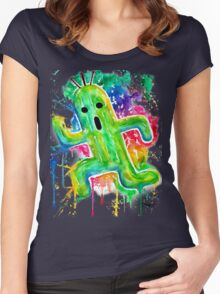 Cute Cactuar - Running Watercolor - Final fantasy - Jonny2may - Awesome!  Women's Fitted Scoop T-Shirt