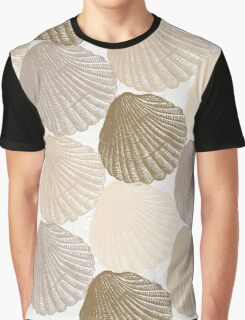 Sea Shells Pattern in Beige and Cream Graphic T-Shirt