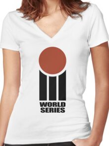 Retro Cricket Women's Fitted V-Neck T-Shirt