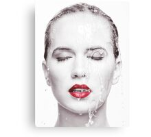 Artistic portrait of woman with water running over her face art photo print Canvas Print