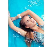 Portrait of beautiful woman lying in blue water art photo print Photographic Print
