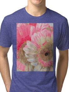 Abstract Pink Daisies Tri-blend T-Shirt