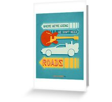 Back To The Future Illustration Greeting Card