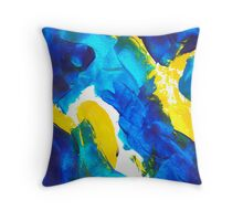 Blue, Yellow, and White Swatch Painting Throw Pillow