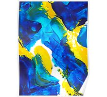 Blue, Yellow, and White Swatch Painting Poster