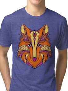 Zentangle stylized cartoon of fox Tri-blend T-Shirt