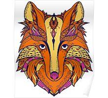 Zentangle stylized cartoon of fox Poster