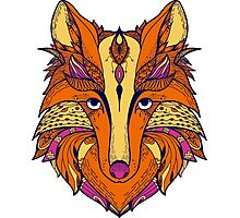 Zentangle stylized cartoon of fox Photographic Print