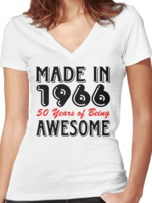 Made in 1966, 50 Years of Being Awesome Women's Fitted V-Neck T-Shirt