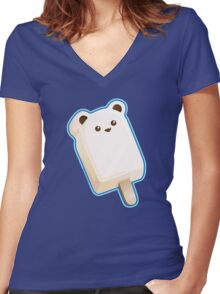 Cute Polar Bar Ice Cream Women's Fitted V-Neck T-Shirt