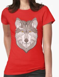 wolf, zentangle Womens Fitted T-Shirt