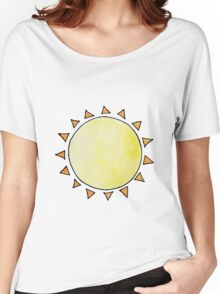 Watercolor Sun on Blue Women's Relaxed Fit T-Shirt