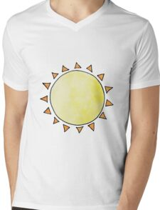 Watercolor Sun on Blue Mens V-Neck T-Shirt