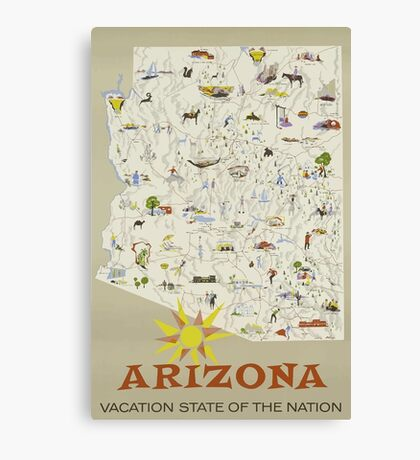 Arizona Vaction State Of The Nation Vintage Travel Poster Canvas Print