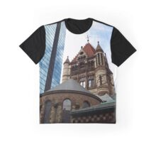 Trinity Church and John Hancock Tower in Boston  Graphic T-Shirt