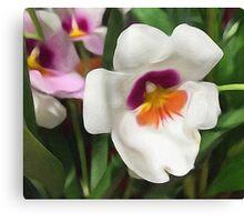 White, Purple, & Yellow Flowers Canvas Print