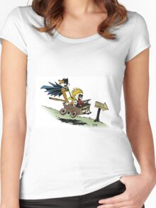 Calvin and Hobbes cosplaying Women's Fitted Scoop T-Shirt