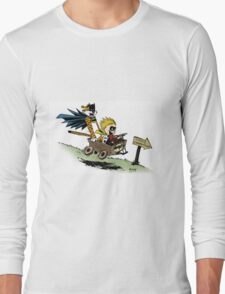 Calvin and Hobbes cosplaying Long Sleeve T-Shirt