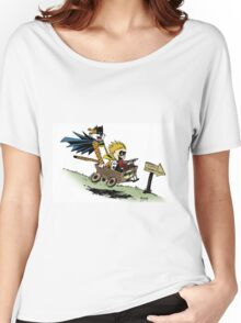 Calvin and Hobbes cosplaying Women's Relaxed Fit T-Shirt