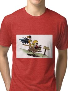 Calvin and Hobbes cosplaying Tri-blend T-Shirt