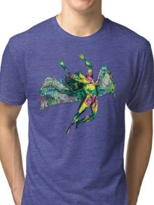 ICARUS THROWS THE HORNS - pink pastel Tri-blend T-Shirt