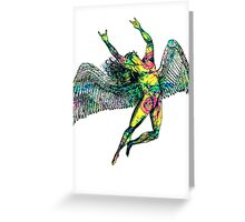 ICARUS THROWS THE HORNS - pink pastel Greeting Card