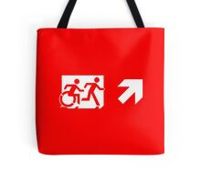 Accessible Means of Egress Icon and Running Man Emergency Exit Sign, Right Hand Diagonally Up Arrow Tote Bag