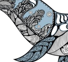 Big blue whale with wavy ornaments and hand drawn shapes Sticker