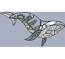 Big blue whale with wavy ornaments and hand drawn shapes Photographic Print