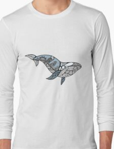 Big blue whale with wavy ornaments and hand drawn shapes Long Sleeve T-Shirt