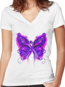 Purplfly Women's Fitted V-Neck T-Shirt