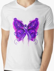 Purplfly Mens V-Neck T-Shirt