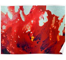 Fluid Acrylic Painting Red Abstract Floral Poster