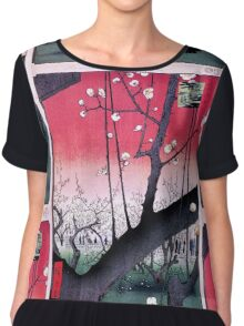 Japanese Print: Cherry Blossoms - Red Chiffon Top