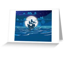 Sailship Voyage under the Moonlight Greeting Card