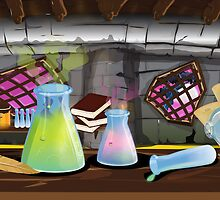 Science Laboratory with experiments bubbling by Nick  Greenaway