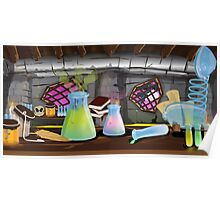 Science Laboratory with experiments bubbling Poster