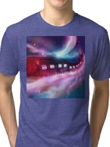 Train Voyage to the Moon Tri-blend T-Shirt