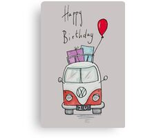 Birthday Camper Van With Presents  Canvas Print