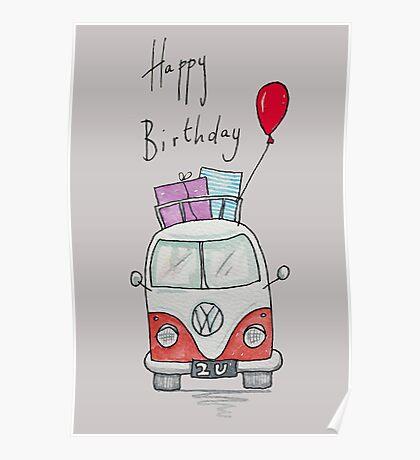 Birthday Camper Van With Presents  Poster