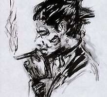 Smoking Man (sumi-e) by somnivision