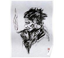 Smoking Man (sumi-e) Poster