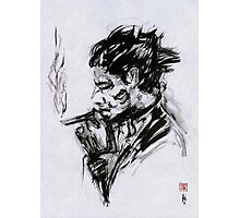 Smoking Man (sumi-e) Photographic Print